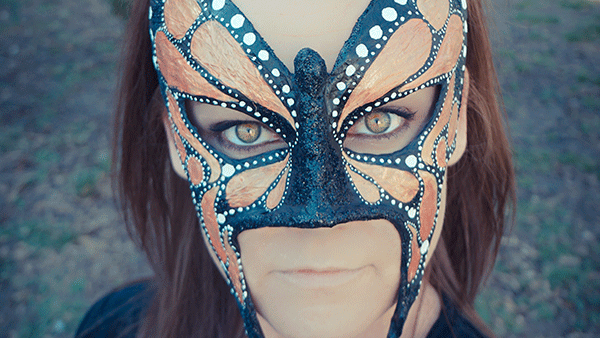 SoulMask's butterfly mask made with her best mask making materials