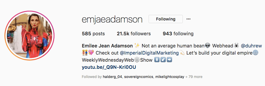 emjaeadamson has 21.5k followers on Instagram - check out her profile to see cosplay sponsorship in action!