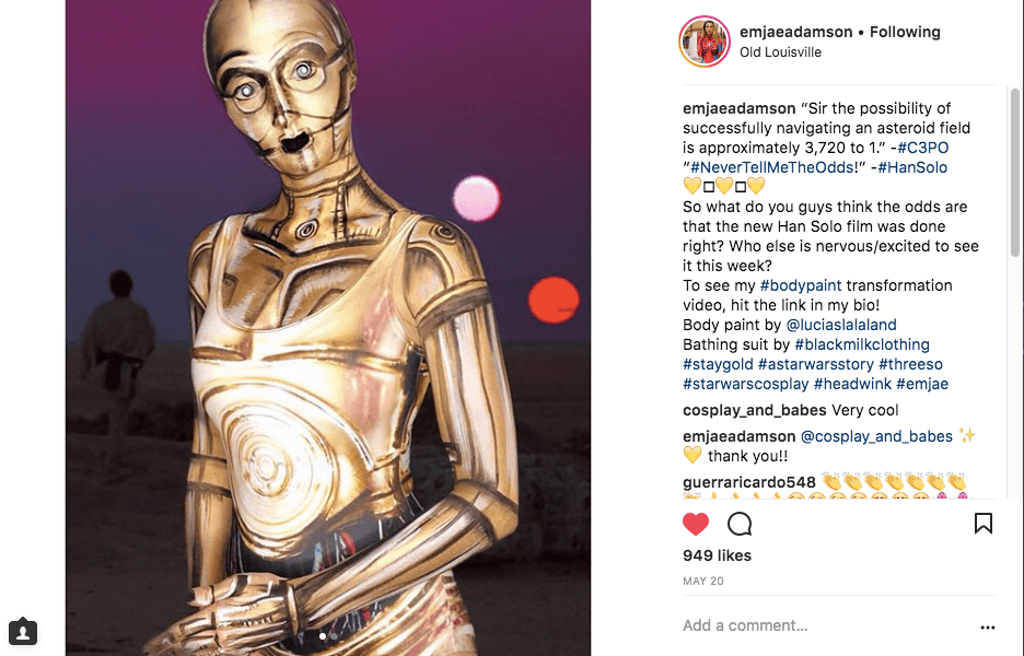 Emilee's post in C3PO cosplay shows how she collaborates and markets cosplay sponsorships