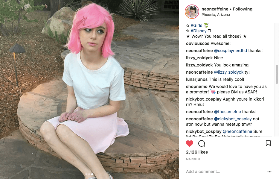 neoncaffeine is always commenting and engaging with her followers - not just relying on awesome cosplay alone