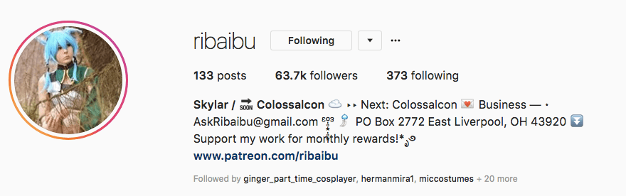 ribaibu's Instagram profile snapshot shows she has over 63k followers!