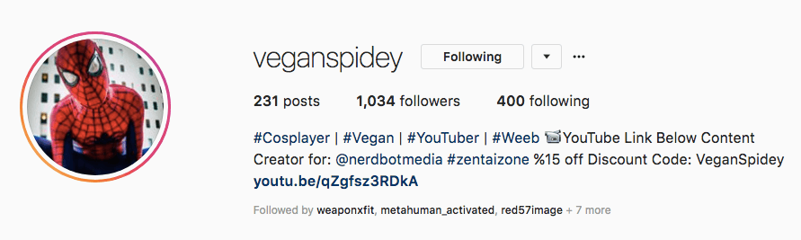 veganspidey's Instagram bio shows the companies he works with and that he has a Youtube channel!