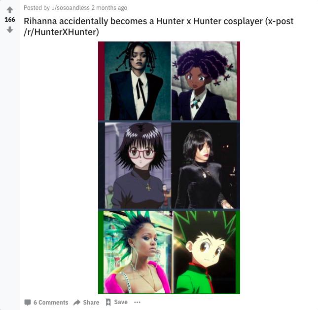 Subredditor sosoandless' take on Rihanna cosplaying Hunter x Hunter