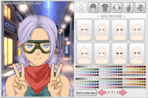 Anime dress up games purple hair girl dress up